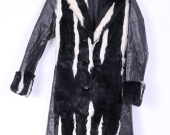 ESTREMO Womens 42 Coat Black Leather Autum Spring italy Fitted Fur