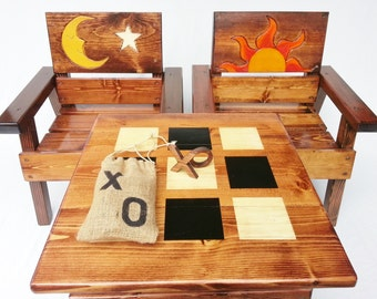 Kids Table and Chairs, Toddler + Boy / Girl Gift, Childrens Wood Furniture Outdoor Tic Tac Toe Game, Birthday Gift, Engraved Sun and Moon