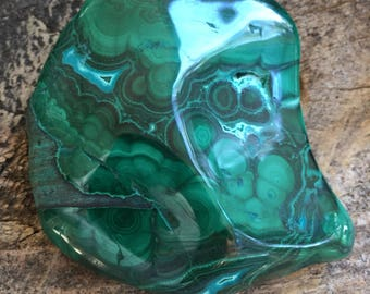 Polished Malachite with Chrysocolla