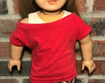 18 Inch Doll Clothes | Red Slouch Shirt With Cream Tank Top And Zig Zag Brown, Blue, Red Leggings