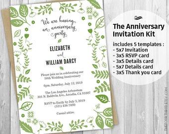 Diy invitation kit etsy quick view botanical anniversary party invitation kit stopboris Image collections