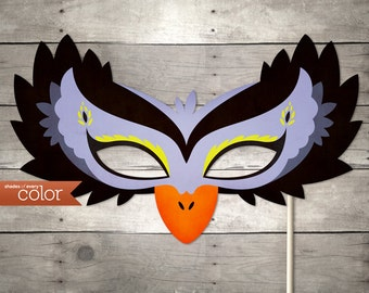 DIY Printable Black & Purple Swan Mask - Halloween, Birthdays, masquerade ball, mardi gras, and weddings