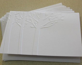 Rustic tree card set, set of eight embossed cards in white, gift idea, thank you, birthday, sympathy, thinking of you card set