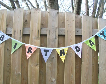 Happy Birthday Banner, Birthday Party Decoration, Fabric Pennant Flags Supplies Birthday Bunting