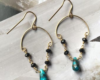 Turquoise & Black Spinnel Gold Filled Drop Earrings