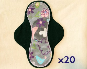 20-pack cloth pad making kit, unfinished, hourglass medium flow, Serendipity