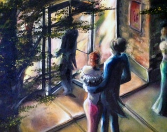 """FREE SHIPPING! Original Oil Painting - """"Movies"""""""