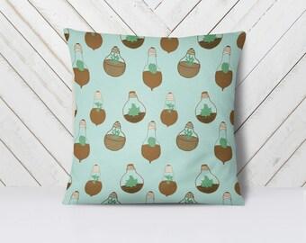 """Succulent, Botanical Decorative Throw Pillow, 16"""" x 16"""""""