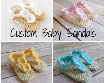 Baby Sandals, Custom Baby Flip Flops, Crochet Knit Baby Shoes, Summer, Newborn Baby Sandals