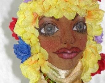 FLORA-OOAK Cloth Doll-Full Figured Lady