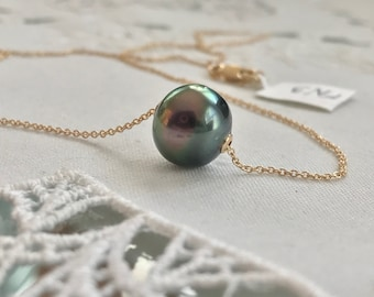 Cultured Tahitian Pearl Floating Necklace, 14k Yellow Gold (FN3)