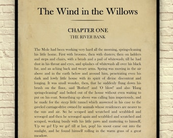 Classic Book Page, Kenneth Grahame, The Wind in the Willows, Childrens' Novel, Chapter 1, Page 1, Book Page Wall Art, Book Page Art Print