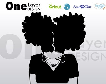 Afro girl, beautifull, files SVG File, T-Shirt SVG, svg -Vector Art -Personal Use- Cricut,Silhouette,Cameo,Iron on Vinyl