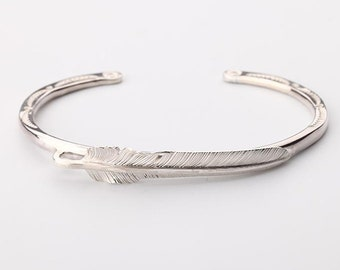 Silver Feather Bangle   Native American Inspired   Feather Jewelry   Sterling Silver Bracelet   Bohemian Bracelet  Feather Slim Bangle Women