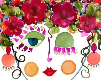 Meet Camellia! A Gypsy Garden Girl - Carmen Miranda Inspired Face - Print from Original Watercolor Painting by Suzanne MacCrone Rogers
