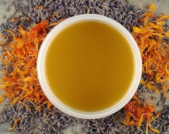 Featured listing image: Calendula Lavender Healing Salve - chapped skin salve - minor cuts salve - first aide salve -healingsalve 4 ounce