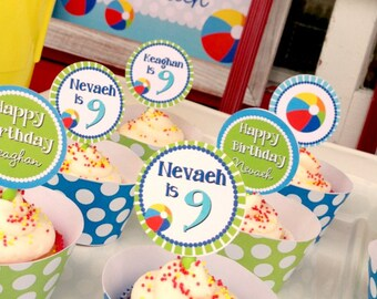 DIY Printable, Beach Ball CUPCAKE TOPPERS