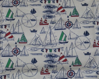 "Vintage Waverly Designer Fabric ""TOPSAIL"" Nautical -56""x39"" (1 yards) Decorator-Upholstery-Pillow"