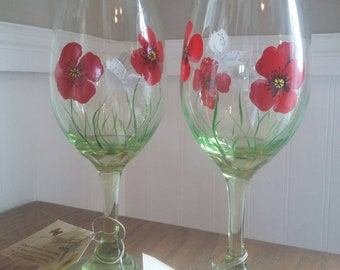 Red Poppies & Dragonfly on Lt. Green Wine Glasses