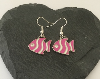 Pink Fish Earrings/ Pink rings / Fish Jewellery/ beach jewellery / sea life jewellery / animal lover gift