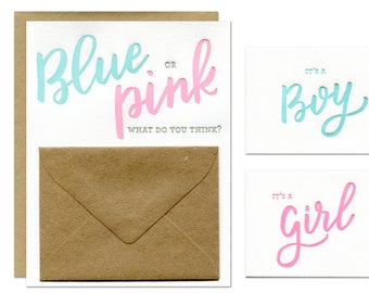 Blue or Pink Gender Reveal Card / Includes Baby Girl and Baby Boy Inserts / Letterpress Printed