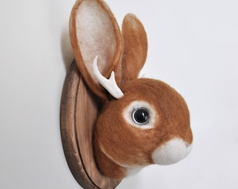 Jackalope - Faux Taxidermy Wall Mount - Needle Felted Home Decor