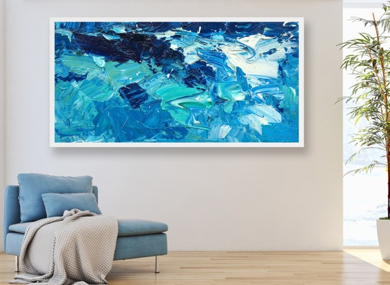 Attractive Extra Large Wall Art Ocean Painting Sea Painting Abstract Art Room Decor  Waves Painting Water Wall Art Ocean Waves Decor Office Art Modern