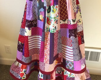 Large Patchwork Calico Love Skirt • Corduroy • Pockets • Red Purple Pink • Hippie • Grateful Dead • Phish • BOHO • Peasant • Valentines