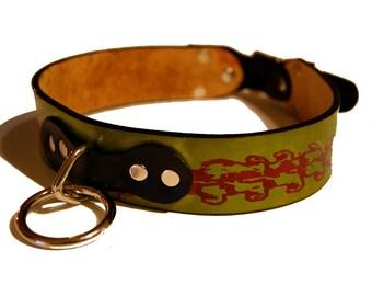 Vertebrae Dog Collar Screen Printed with seamless bones design