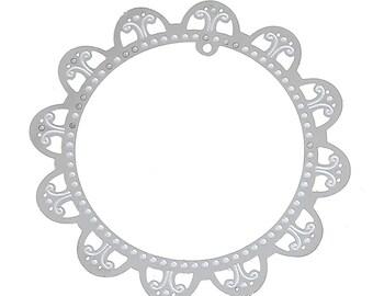 Set of 10 prints round steel 40mm SC71995 Silver Flower charm