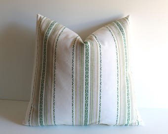 España Stripe Pillow Cover / Green and White Spanish style pillow / Embroidered Stripe Zipper Pillow Cover / Dark Green stripe Cushion -LKBG