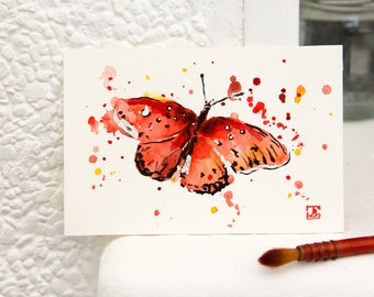 Butterfly original small watercolor painting, butterfly art, Bobapainting