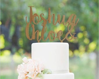 Two Names Bamboo or Acrylic Cake Topper