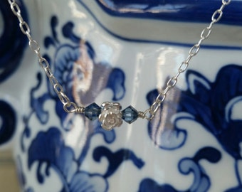 Hand wired rose necklace - bar necklace - with Swarovski pearls & crystals