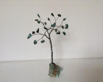 December birthstone gemstone tree. Turquoise wire sculpture. Blue and silver tree of life ornament