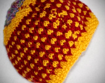Kids handmade woolen bright red and yellow hat