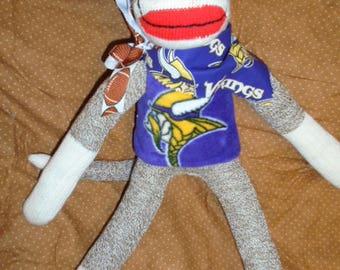 Minnesota Vikings Football Classic Brown Red Heel Sock Monkey Doll/Handmade