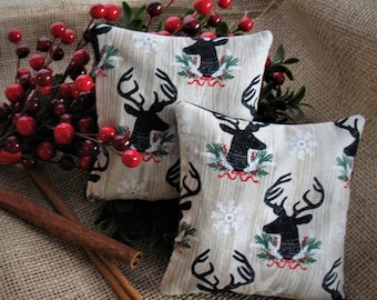 Quinoa Hand Warmers, Holiday Deer, Cinnamon-Scented, Set of 2