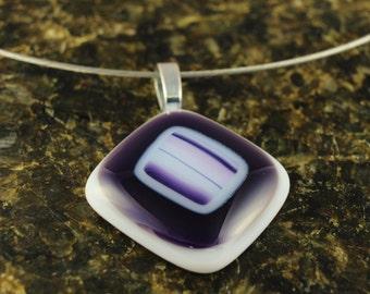 Purple Fused Glass Necklace, Diamond Shaped Pendant, Multicolored Geometric Design, Purple, Pink & White Stripes includes Silver Wire Choker