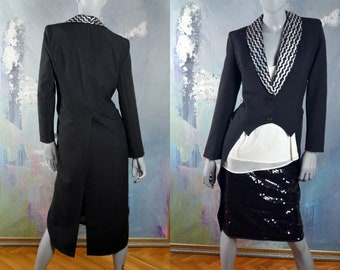 Women's Tailcoat, Tuxedo Jacket w Tails, Hungary Vintage Black Evening Jacket w Silver Sequin Lapels: Size 10 US, 14 UK