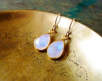 Tiny Moonstone Earrings in Gold Filled - Tear Drop Rainbow Moonstone Gemstone and Gold Drop Earrings, Gold Moonstone Earrings. Gift for Her.