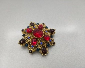 Florenza Ruby Red Brooch signed  Art Glass Brooch Petite and Detailed