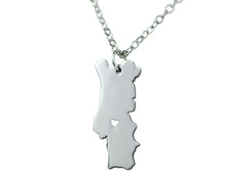 Stainless Steel State Map Pendant Necklace, Love Portugal, Jewelry Supply, Silver Tone Available, Portugal