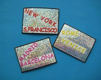 Iron-on Sequins Patch City of Italy/ Spain/ USA 2.7 inch
