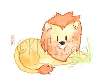 Lion - Jungle Animal Nursery Print