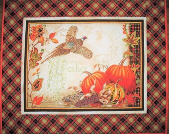 Autumn Wall Hanging, Table Runner, pumpkins, pheasants, leaves, quilted, handmade, wall art, focus fabric from Red Rooster