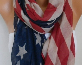 American Flag Scarf American Scarf Cotton Star Scarf Patriotic Scarf July 4th Scarf Memorial Day Gift Ideas Soft Red Blue