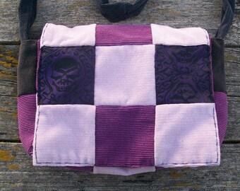 Purple Black Skull Brocade Patchwork Recycled Corduroy Purse Crossbody OOAK