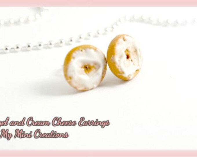 Cream Cheese Bagel Earrings, Polymer Clay, Miniature Food, Miniature Food Jewelry