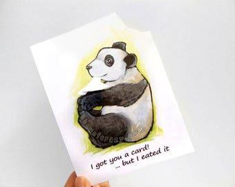 Funny Card, Cute Panda Bear, Happy Birthday, Blank Card, Anniversary Card, Custom Greeting, Personalized Name, Humor Card, Handmade Card